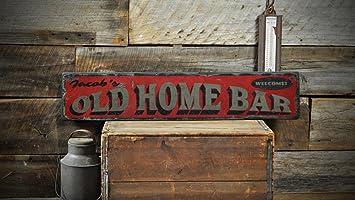 Amazon.com: Old Home Bar Letrero De Madera, señal de Custom ...