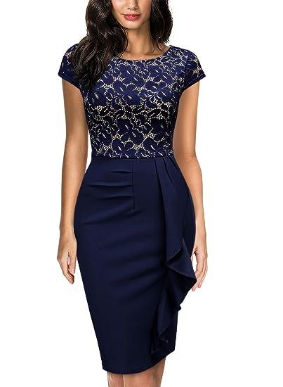 4f2d8157be5f Miusol Élégant Dentelle Slim Fit Soirée Robe Fourreau Femme Bleu Medium   Amazon.fr  Vêtements et accessoires