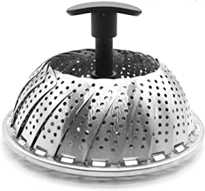 Collapsible Vegetable Steamer Basket- Food Safe Round Stainless Steel Steaming Tray - Fits Large and Small Pans, Pots, Instant Pressure Cookers - Extendable Handle and Silicone Feet
