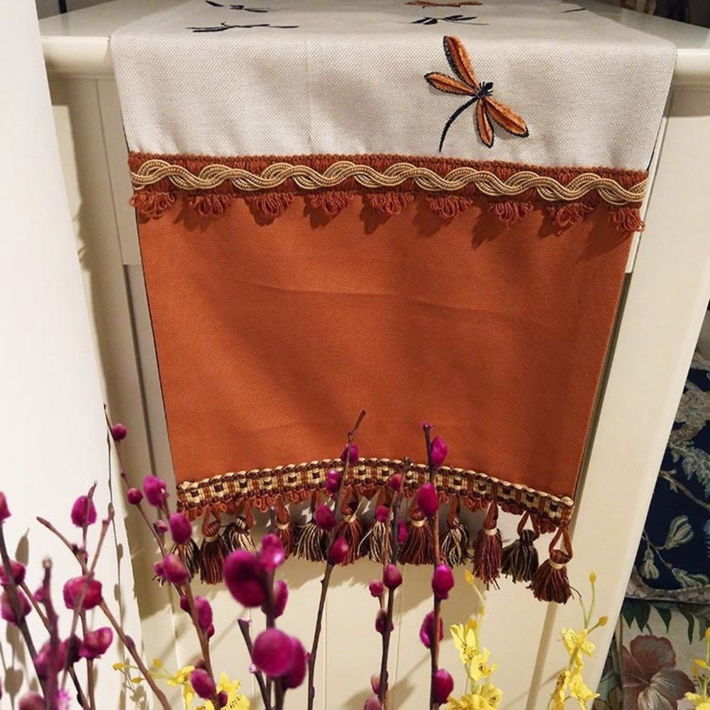 Table Flag Luxury American Style Dragonfly Embroidered Luxurious Love Cloth Coffee Table Flag Table Runner TV Cabinet Flag-A 33x220cm(13x87inch) by TINDLSHHDPPM (Image #1)