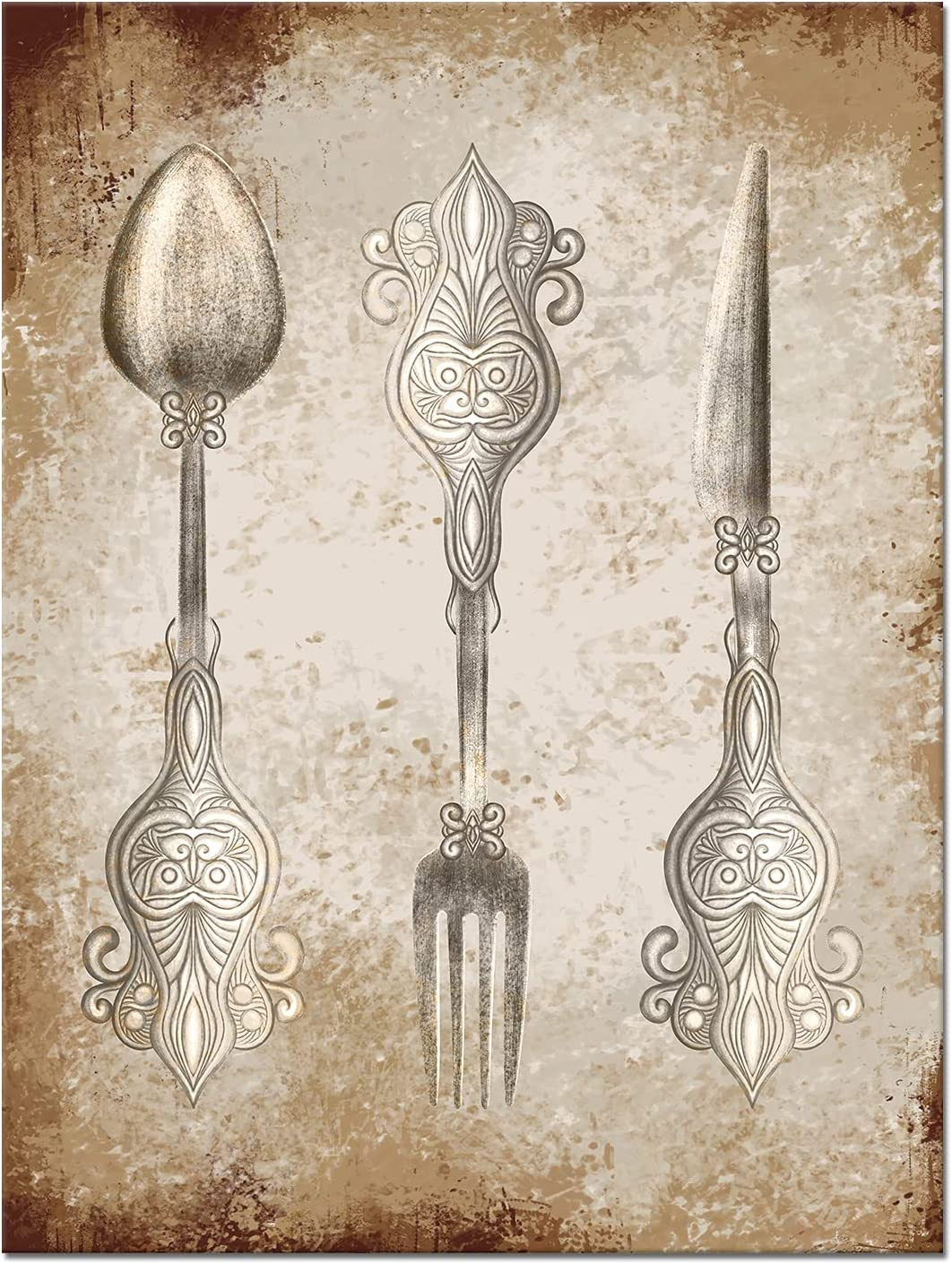 OuElegent Fork Knife Spoon Wall Art Modern Kitchen Pictures Wall Decor Vintage Silver Tableware Pattern Painting for Dining Room Restaurant Bar Decoration Framed Ready to Hang
