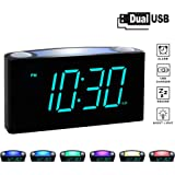 """Rocam Digital Alarm Clock for Bedrooms - Large 6.5"""" LED Display with Dimmer, Snooze, 7 Color Night Light, Easy to Set, USB Chargers, Battery Backup, 12/24 Hour for Kids, Heavy Sleepers, Elderly (Blue)"""