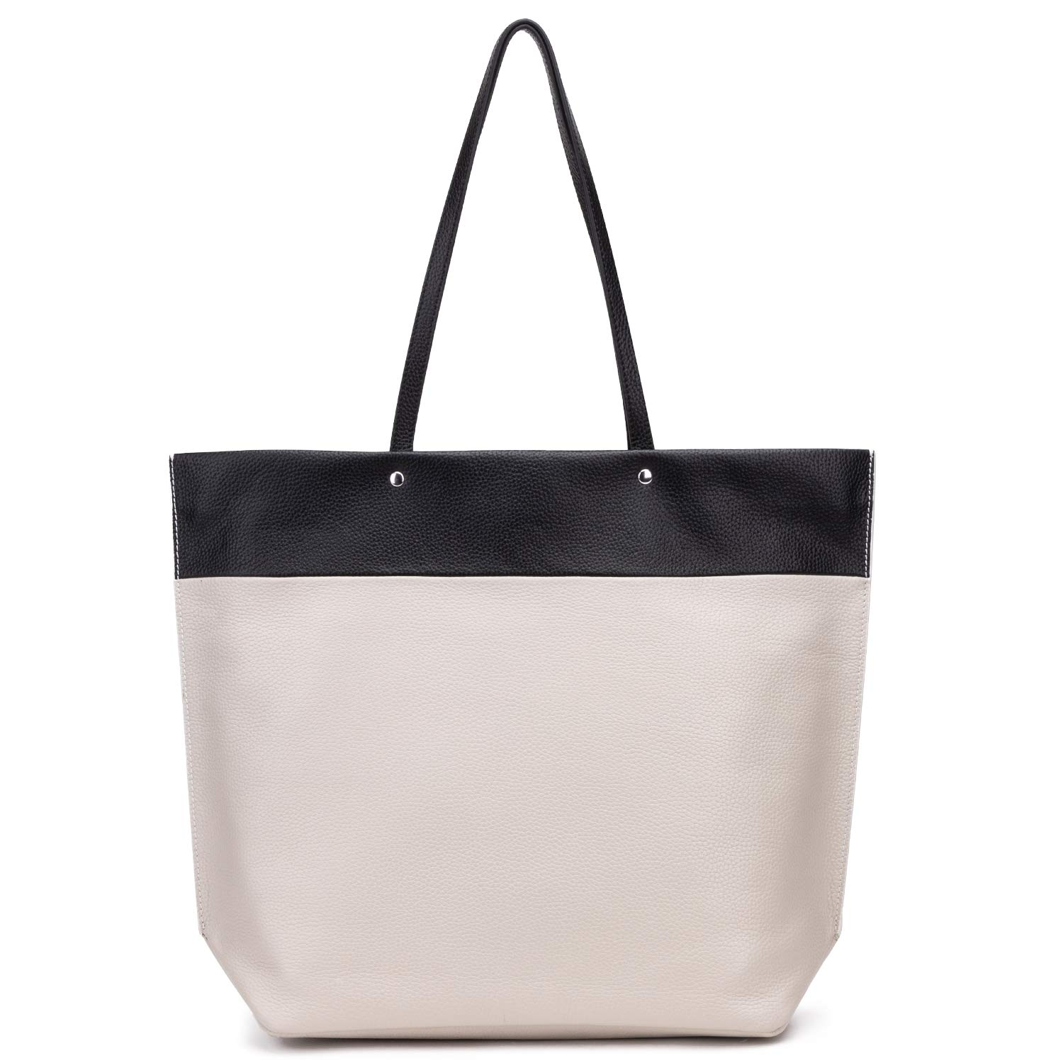 GIONAR RFID Leather Tote Bag Zipper Closure Off White Black Color Block Purses Handbags Designer Shoulder Bag