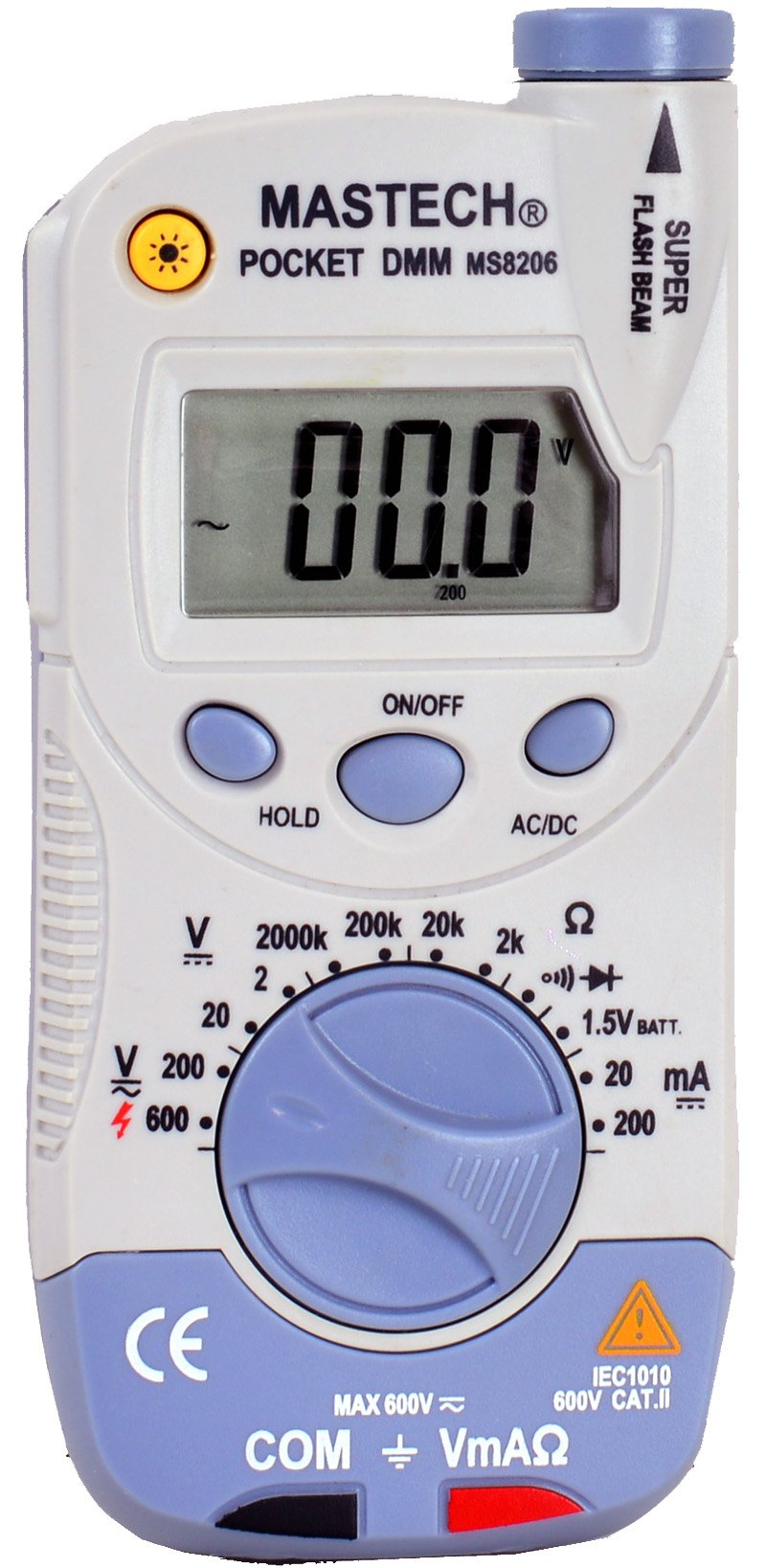 Shanghai Mastech MS8206 Pocket-Size Digital Multimeter with High Accuracy,Flashlight and Super Slim Size