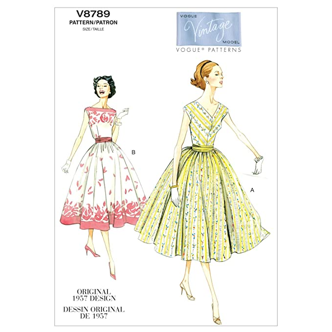 1950s Fabrics & Colors in Fashion 1957 Vogue Patterns V8789 Misses/Misses Petite Dress and Cummerbund Size A5 (6-8-10-12-14) $16.50 AT vintagedancer.com