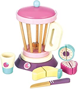 8 Pc Wooden Smoothie Maker toy - Includes wood Blender, cup, Fruits and knife. Made with Premium Materials - Encourages Pretend Play and Communication Skills - Wooden toys for Children 3+