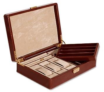Estuche para relojes, joyero y guarda plumas, fabricado en similpiel, HECHO EN UBRIQUE, no asiatico. (COÑAC): Amazon.es: Hogar