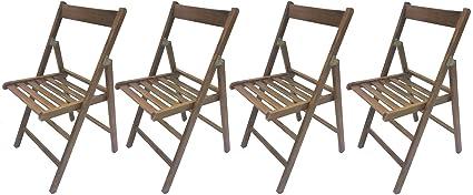 Sedie In Legno Apri E Chiudi.4 Sedie Pieghevole Sedia Birreria In Legno Noce Richiudibile Per Campeggio Casa