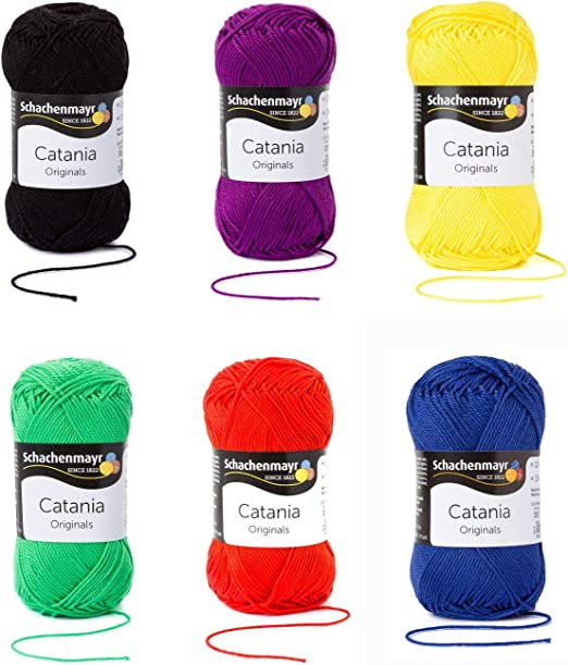 Schachenmayr Catania Lana 6x50 Gr, 100% Algodón - Basis Colores ...