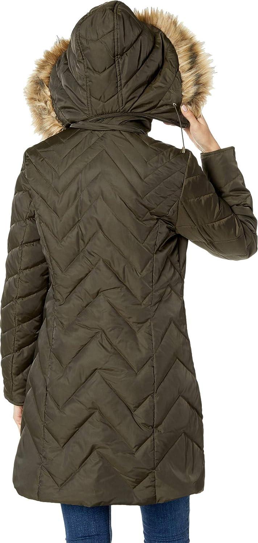 14bfa13e19 Kenneth Cole New York Womens Chevron Multi Quilt 3/4 Down Jacket w/Faux Fur  Hood at Amazon Women's Coats Shop