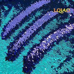 96800b465d7e Amazon.com  LQIAO Mermaid Sequin Fabric Reversible-Turquoise Purple ...