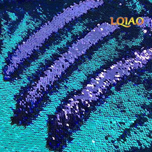 Elegant Reversible Sequin Fabric-Turquoise Purple Shimmer Mermaid Sequin Fabric Emboridery Flip Up Sequin Fabric By The Half Yard Clothing Wedding/Evening Dress - Round App Picture