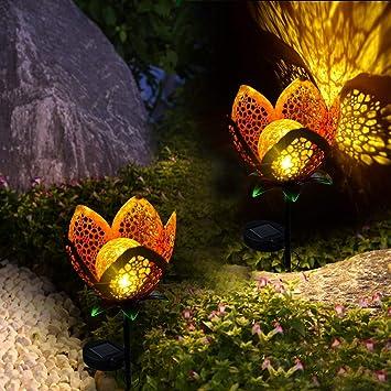 Cacoffay 2 Piezas De Luces Solares para Jardín, Flores Decorativas ...