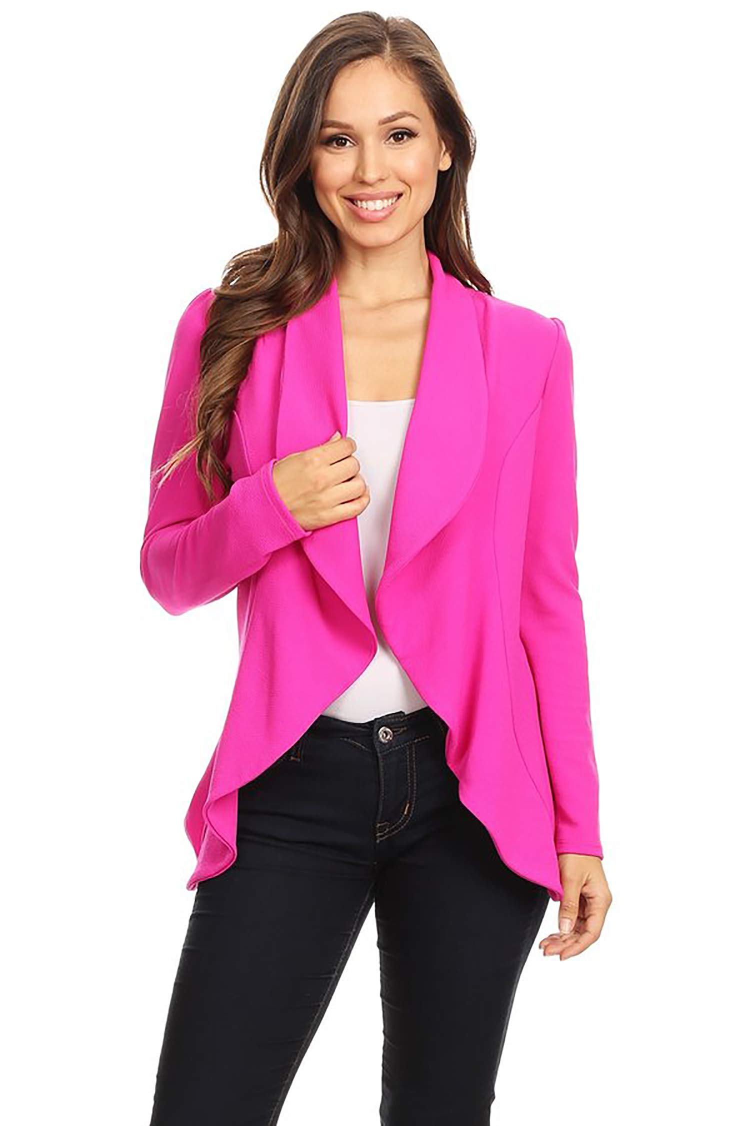 Women's Stretch Long Sleeves Open Front Blazer/Made in USA (S-3XL) Magenta 3XL