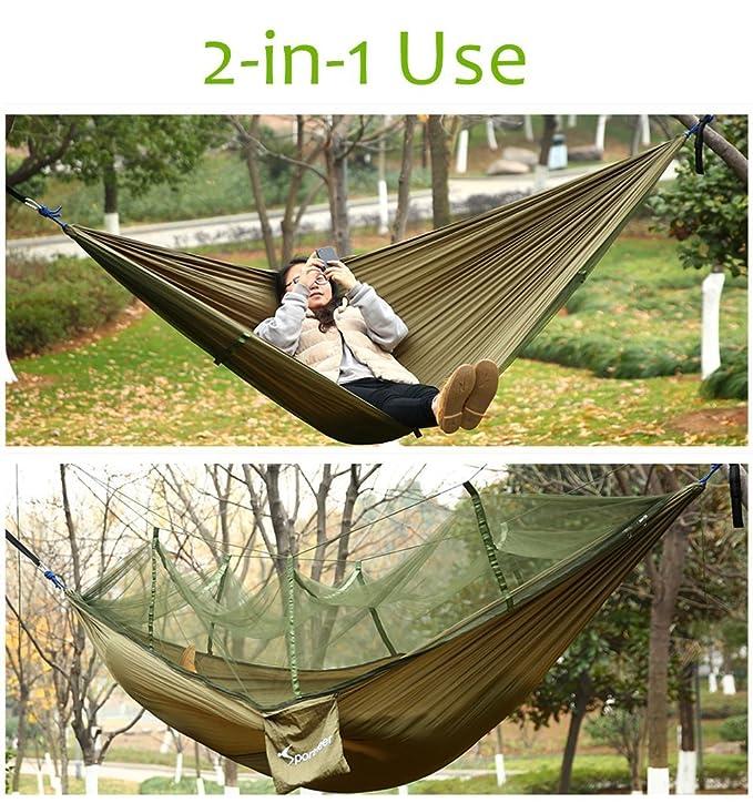 0b0ed0046869 Amazon.com  Sportneer Double Camping Hammock with Mosquito Bug Net ...