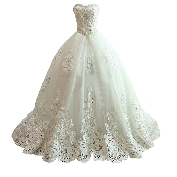 Yuxin Princess Ball Gown Beaded Wedding Dress For Bride Long Lace Strapless Bridal Gowns