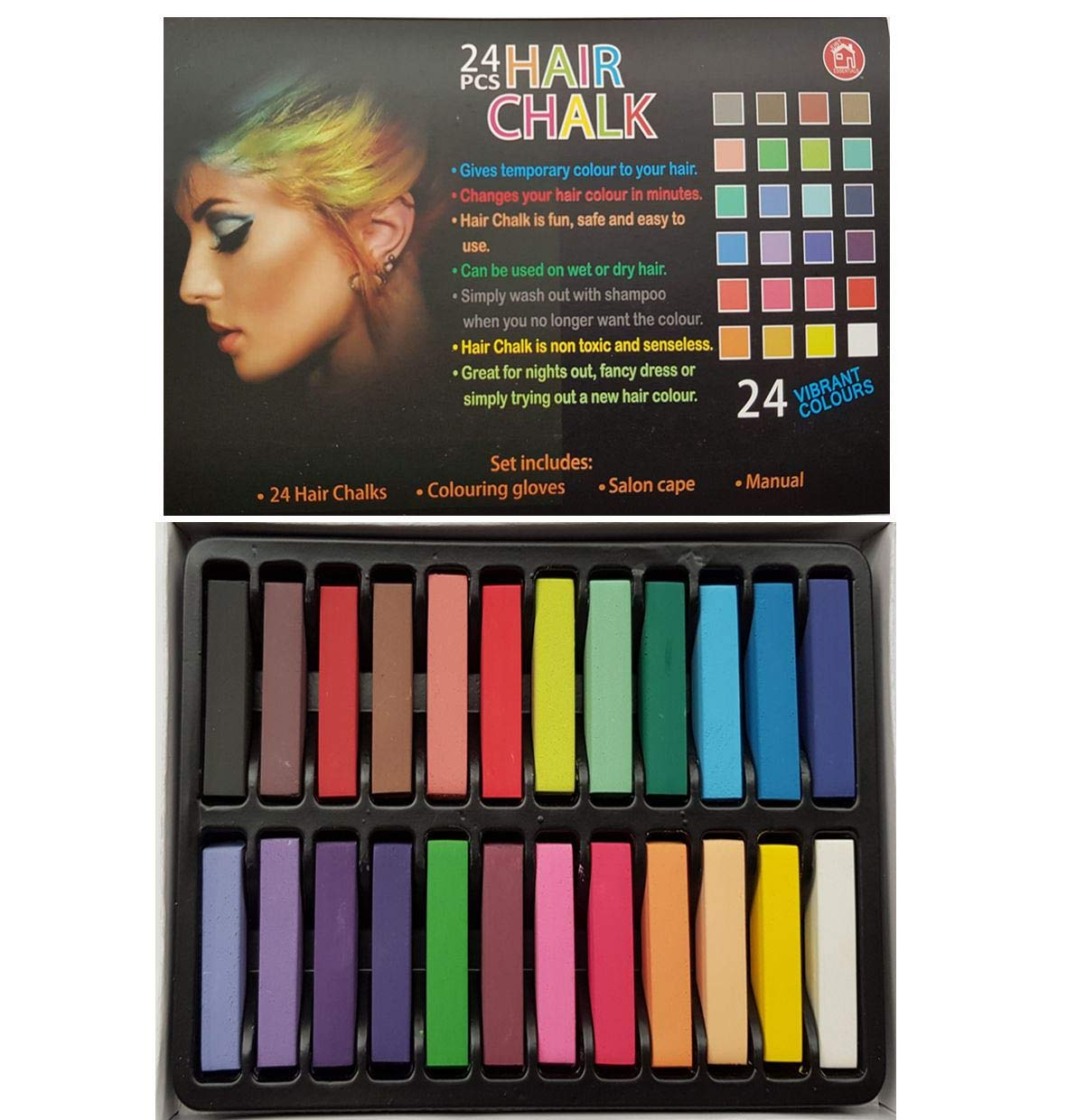 24 Piece Hair Chalk Vibrant Colours Temporary Hair Dye Gloves & Cape Included Gigi Queen