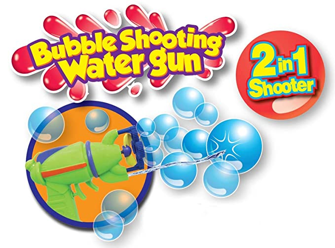 Amazon com: 2 in 1 Bubble Shooting Water Gun, Motorized