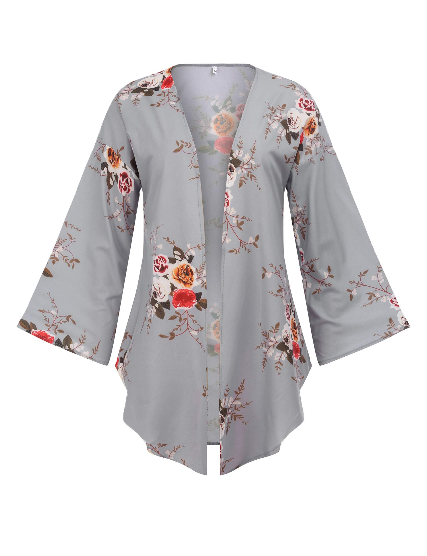 FISOUL Women's Kimono Cardigan Open Front Floral Print Loose Lightweight Long Sleeve Casual Cover up Cape Blouse