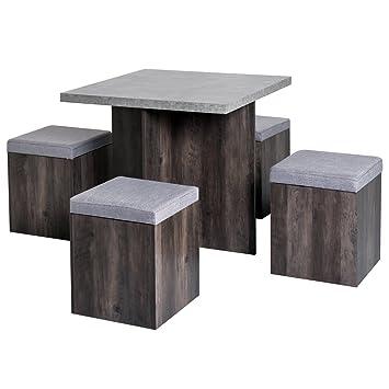 Ensemble table à manger + 4 poufs encastrables avec coffre interne  rangement et coussin panneaux de particule mélaminés imitation bois et  béton ciré