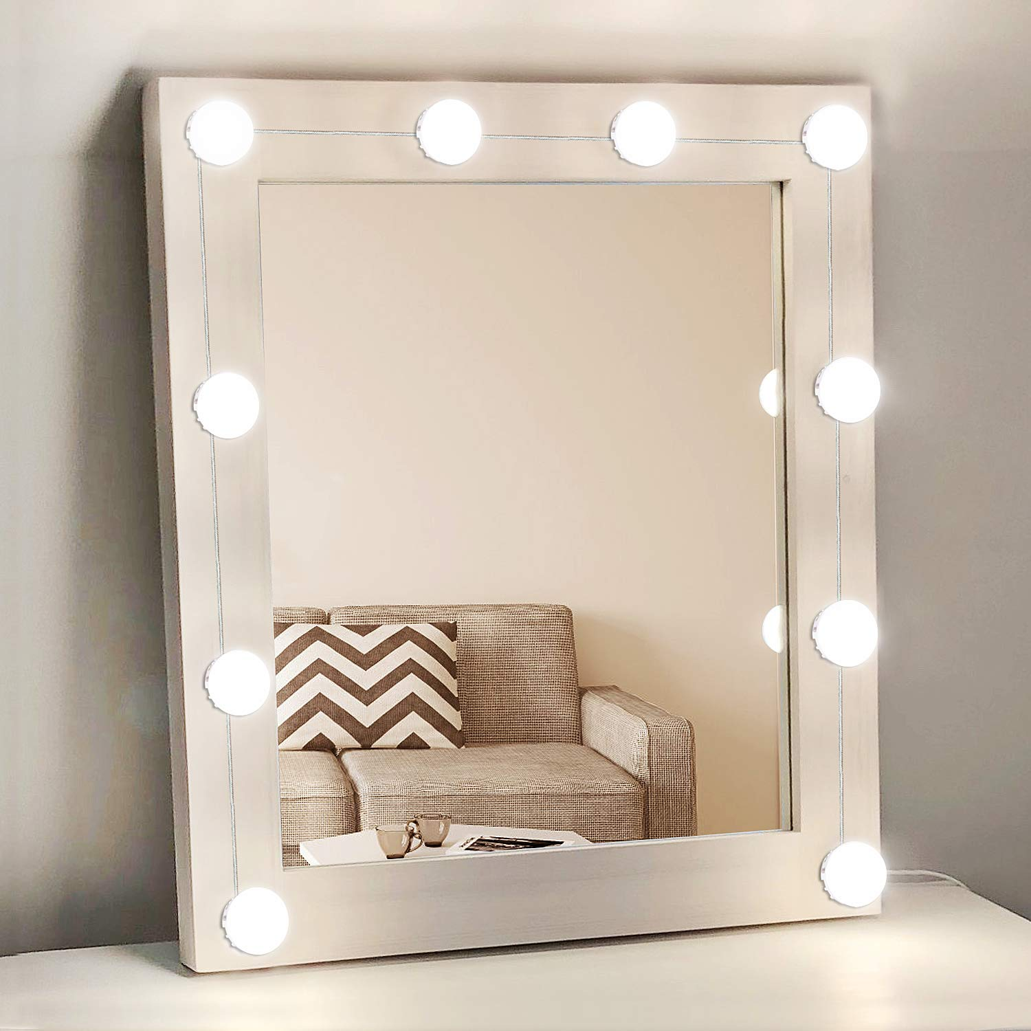 Hollywood Style Vanity Mirror Lights with 10 Dimmable LED Light Bulbs, USB Powered Lighting Fixture Strip for Makeup Vanity Table Set in Dressing Room(Mirror Not Included) (10 Bulbs)