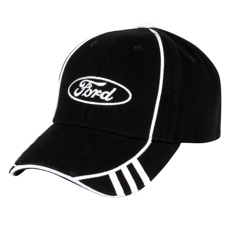 Ford Logo White Stripes Black Baseball Cap Ford Oval BDA