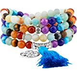 Shanxing 108 Prayer Beads Mala Bracelet Tibetan Buddhist Buddha Meditation Stone Necklace