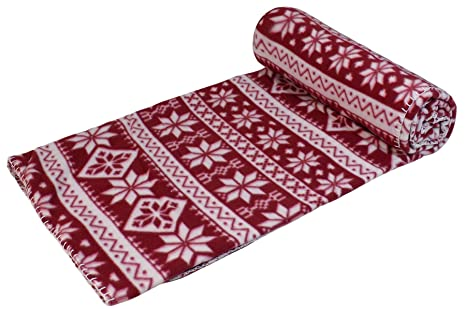 Amazon NORDIC SNOWFLAKE BLANKET STITCH RED WHITE CHRISTMAS Fascinating Red And White Christmas Throw Blanket
