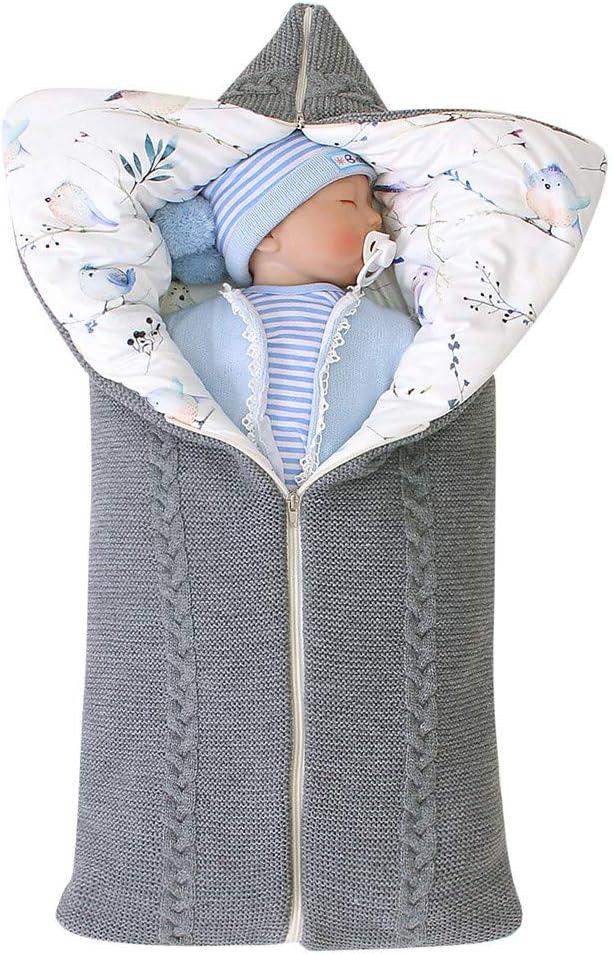 Tefamore Mantas Envolventes Manta Bebé ReciéN Nacido Invierno ReciéN CáLido Dibujos Animados Knitt Swaddle Con Capucha Cochecito Abrigo Saco De Dormir (gris)