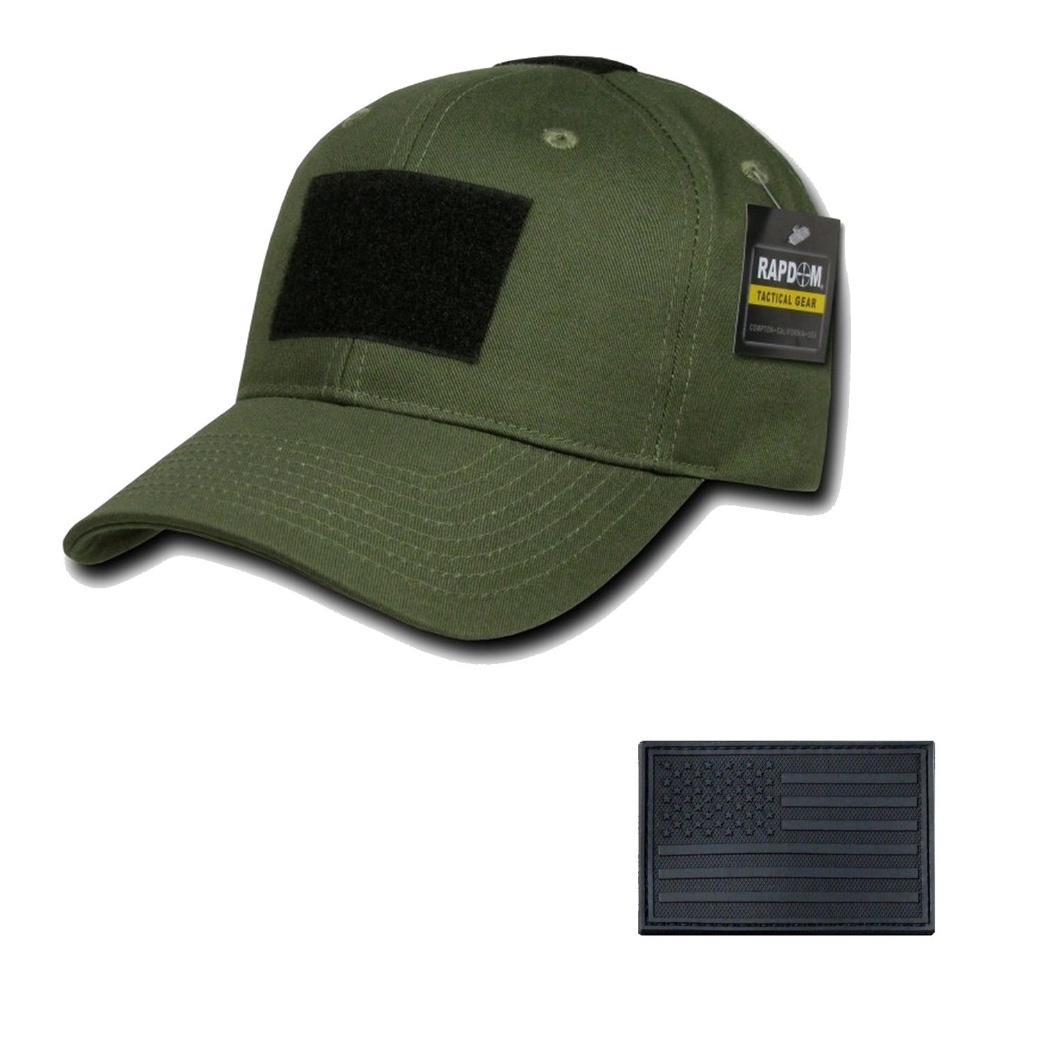 RAPDOM Genuine Tactical Constructed Ball Operator Cap Olive Caps with Free Patch (Olive, USA Flag Black Patch) by RAPDOM