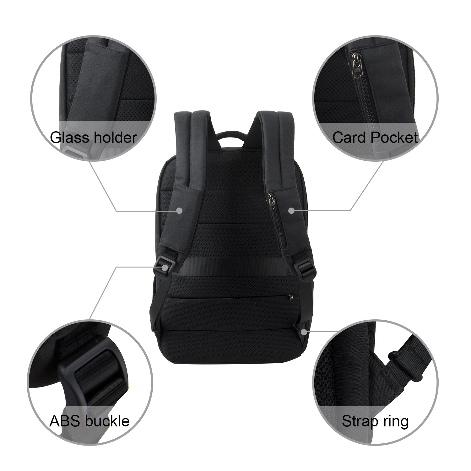 2d40288d203c kopack Deluxe Black Waterproof Laptop Backpack 15.6 17 Inch Travel Gear Bag  Business Trip Computer Daypack