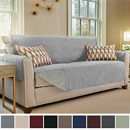 Gorilla Grip Original Slip Resistant Sofa Slipcover Protector, Seat Width Up to 70 Inch Suede-Like, Patent Pending, 2 Inch Straps, Hook, Couch Cover ...
