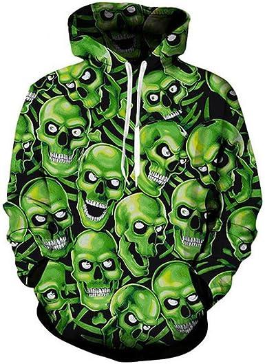Floral Skull Print 3D Hoodie Sweatshirt Hooded Hip-Hop Pullover