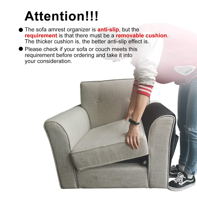 Reposabrazos para sofá o sillón, Impermeable, Extra Grande, Duradero, Suave, Organizador para teléfono, Libro, revistas, TV, Mando a Distancia