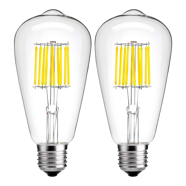 10W Edison Style Vintage LED Filament Light Bulb,100 Watt Equivalent Light Bulbs,Daylight Glow 4000K,1000LM,Dimmable, E26 Medium Base Lamp, Antique Shape, (2 Pack)