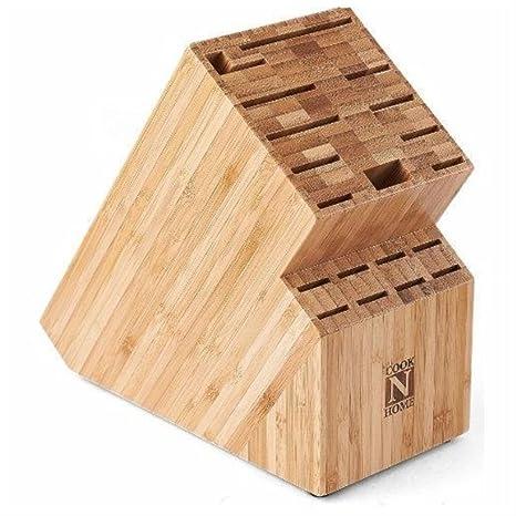 Bambú cuchillo bloque de almacenamiento organizador Madera ...