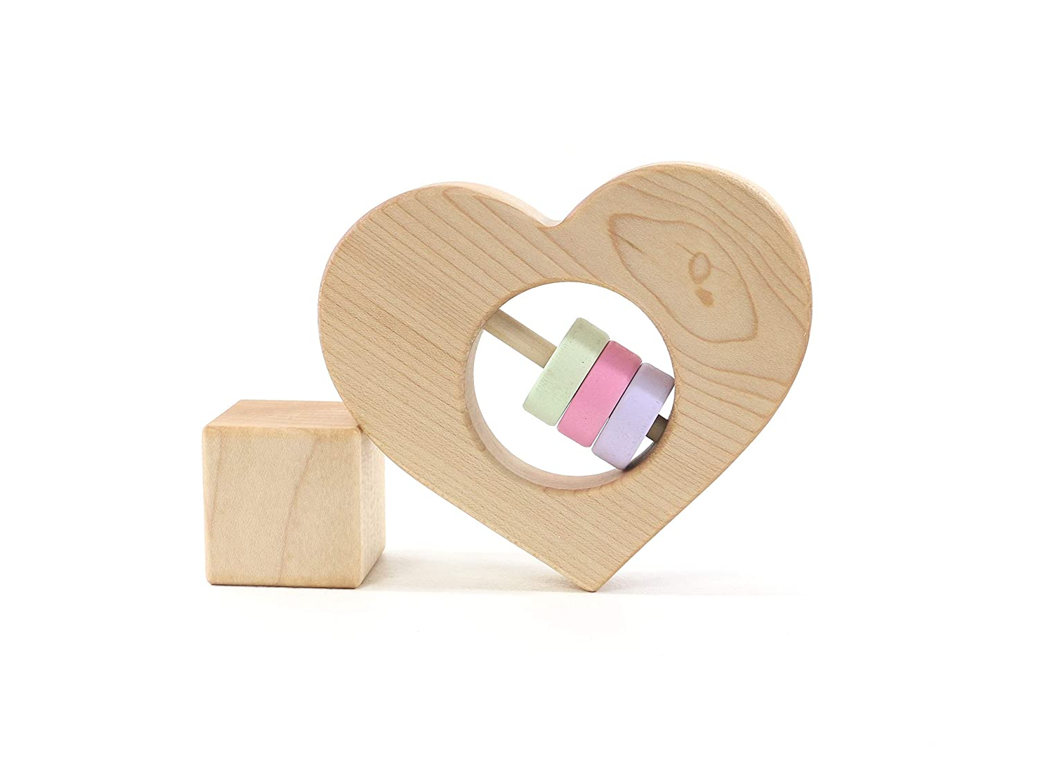 Heart Wooden Baby Rattle Valentines Gift