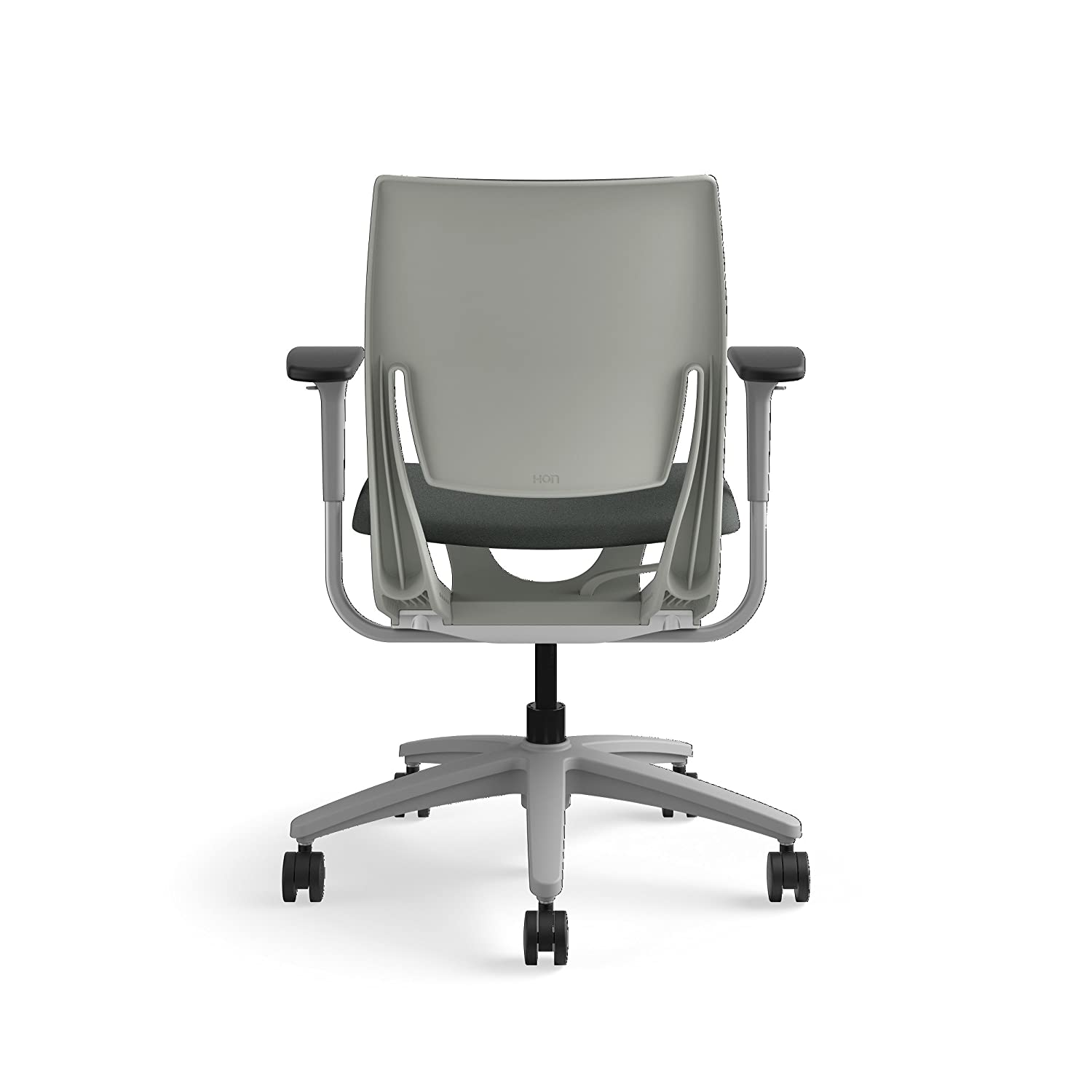 HON Purpose Mid-Back Chair with YouFit Flex Motion Fixed Arms Platinum Shell and Platinum Base Espresso Fabric The HON Company HR1W.FPLT.H.PT.CU49.PLAT
