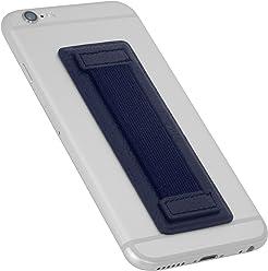 StilGut - Supporto dita per Smartphone in vera pelle con elastico, grande, Blu Navy