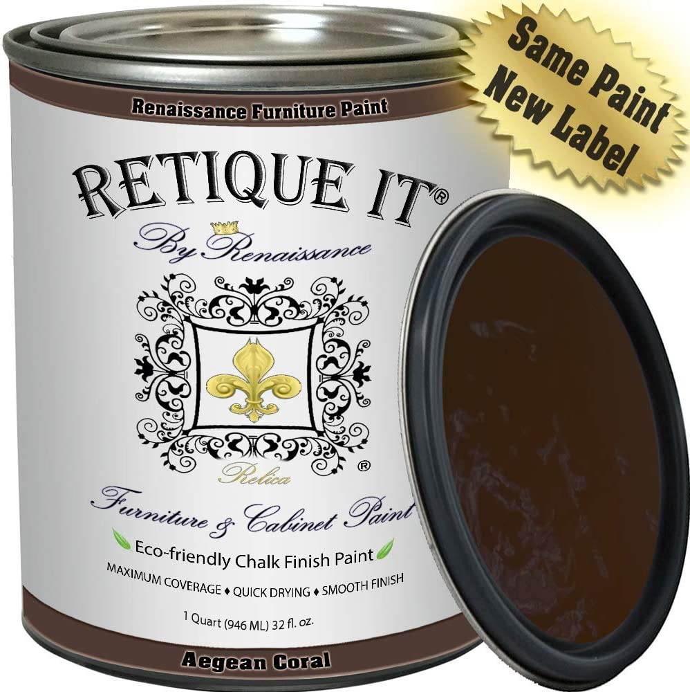 Retique It Chalk Finish Renaissance Furniture Paint, 32 oz (Quart), Arabian Coffee 06, 32 Ounces