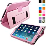 Snugg Leather Flip Stand Case for Apple iPad Mini and Mini 2 with Retina - Candy Pink