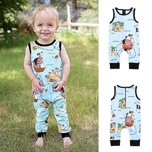 681ee9c8e Infant Toddler Baby Boy Girls One Piece Romper Jumpsuit Cuekondy Cute  Cartoon Pirate Print Zip Playsuit
