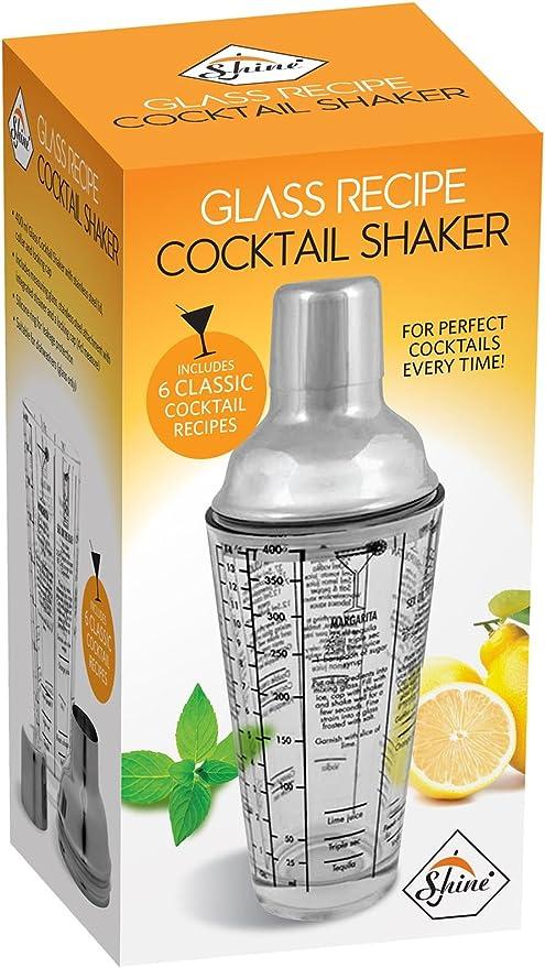 Cocktail Shaker Glass,Cap Bar Mixer,Stainless Steel collar Recipe Gift Set 400ml