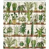 Eureya Shower Curtain,100% Polyester Fabric Potted Plants Decorative Bathroom Bath Waterproof Shower Curtains 180x180CM