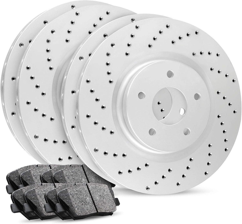 Ceramic Brake Pads Front+Rear R1 Carbon Geomet Cross Drilled Brake Rotors