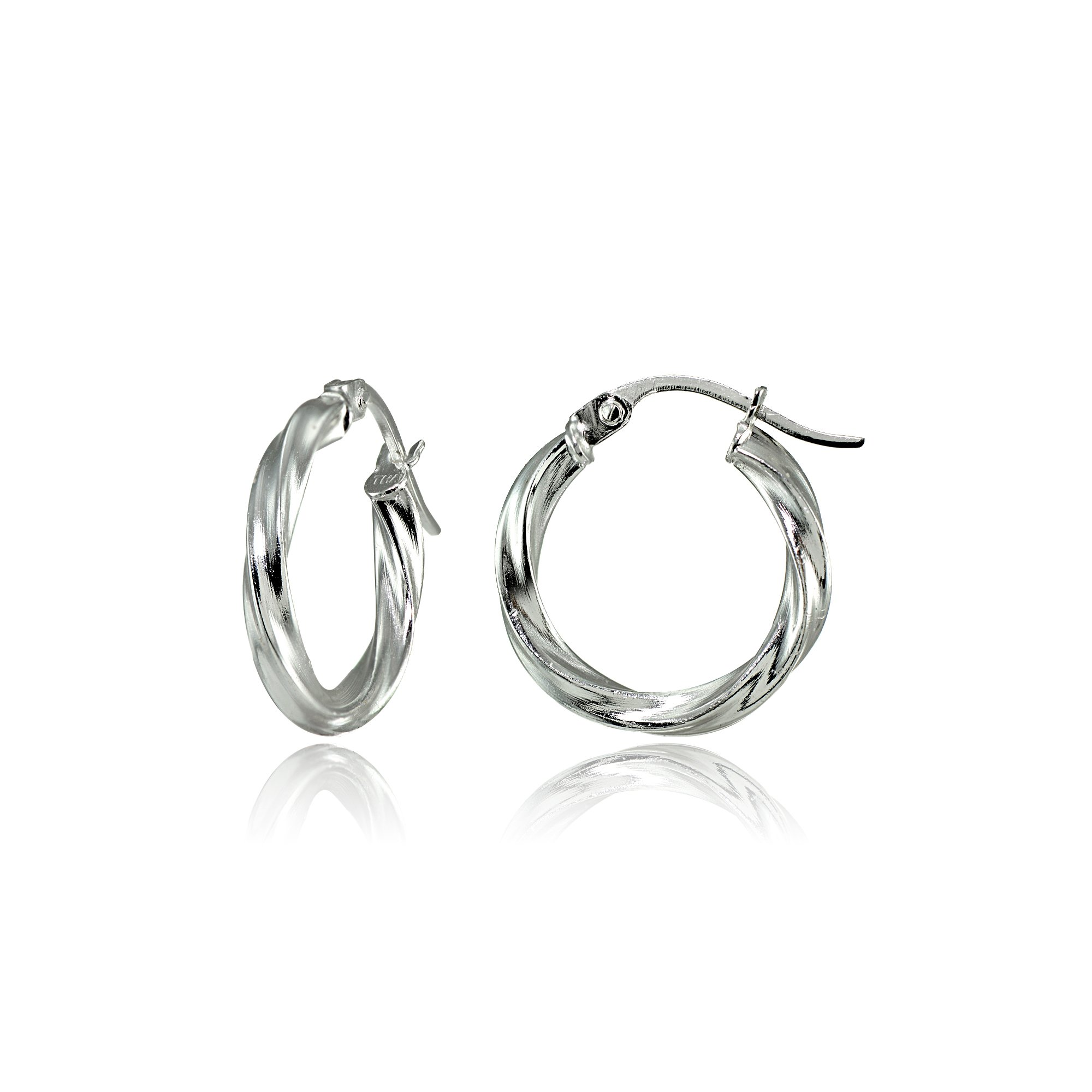 Hoops & Loops Sterling Silver 2mm Twist Round Hoop Earrings, 15mm