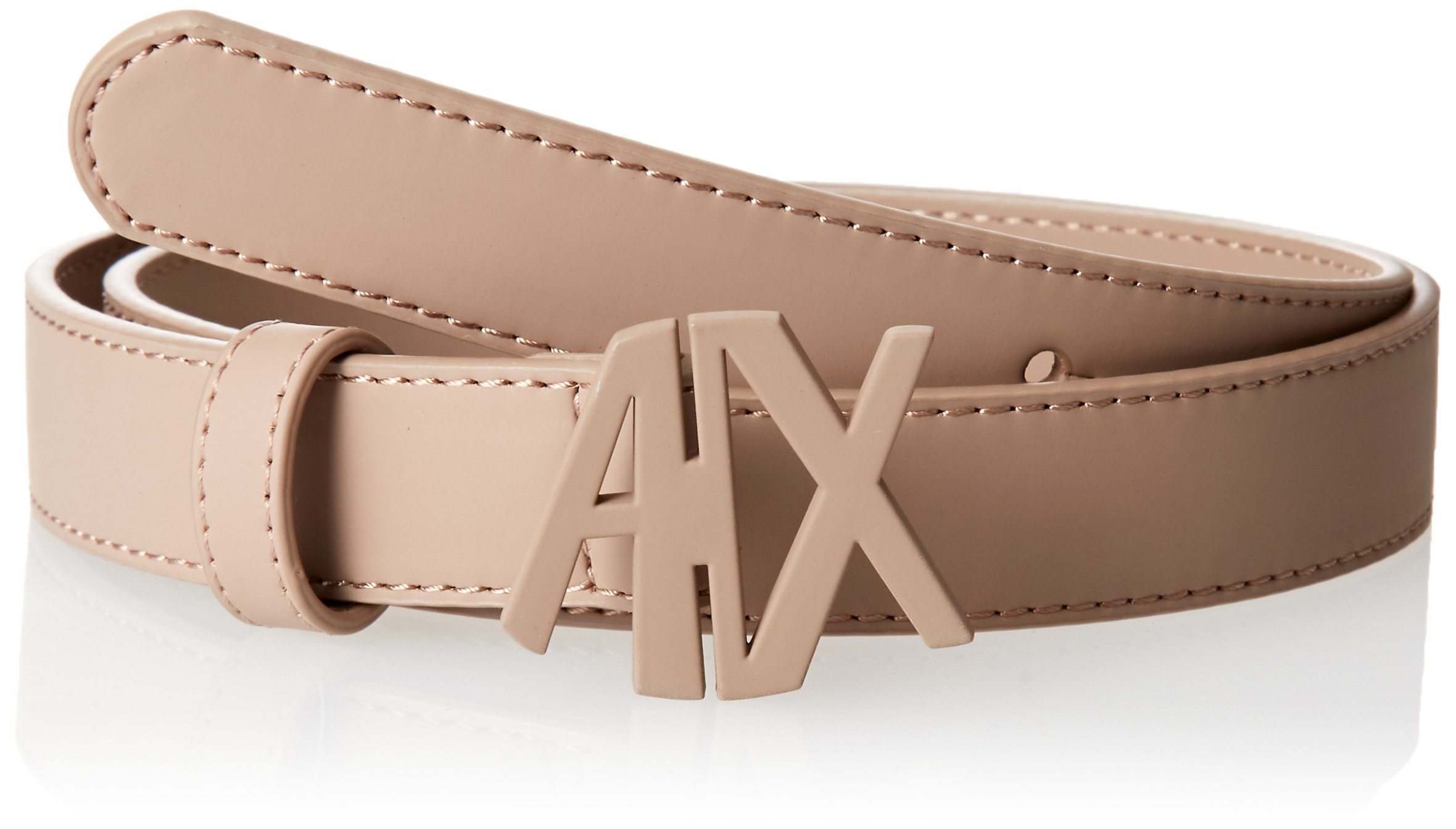 A X Armani Exchange Women's Colored AX Buckle Belt, Taupe, l by A X Armani Exchange