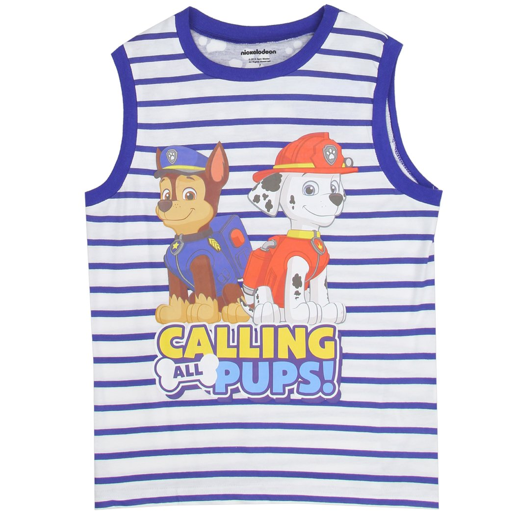 Paw Patrol Striped Boys Tank Top Shirt, 7