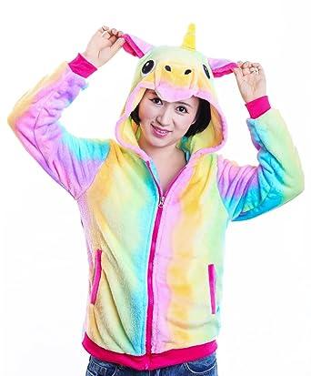 3b758cc4e AooToo Unicorn Hoodie Sweatshirt for Girls Juniors Kids Cartoon Costume  Jackets(Rainbow, S(
