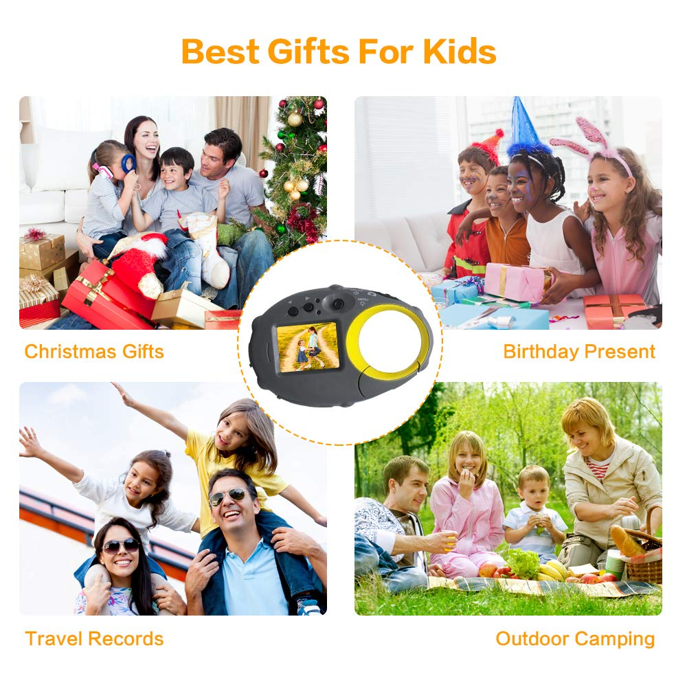 ISHARE Kids Camera Cute Camera 12MP 4× Digital Zoom Digital Camera with Video, Mini Kids Camera with Photo Frame for Girls and Boys, (Yellow) by ISHARE (Image #2)